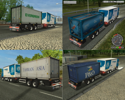 20ft Tankcontainer and Container Tandem Trailer Addon by newS